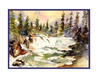 Watercolor Glacier National Park Avalanche Trail Note Cards Notecards Boxed Set  Stocking Stuffers