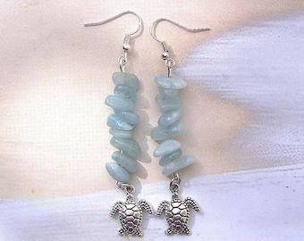 Aquamarine & Silver Turtle Drop Earrings, March birthstone, turtle jewelry, turtle earrings, aquamarine jewelry, aquamarine earrings