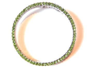 Light Green Rhinestone Circle Pendant