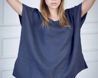 Oversized Linen Top, Soft Washed Charcoal Linen Shirt, Linen Top For Women, Linen Tunic Top