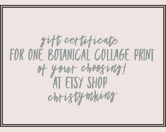 Printable Gift Certificate for One Botanical Print