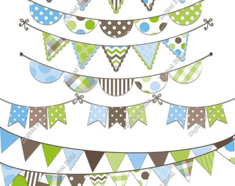 Blue, Green&Brown Bunting Clip Art Set - printable digital clipart - instant download