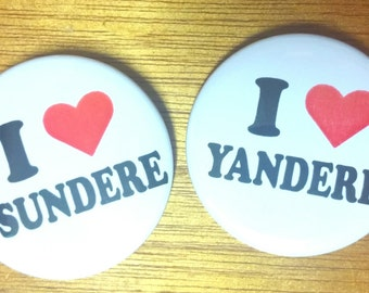 I heart Tsundere and Yandere 2.25 inch button set