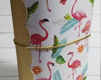 Golden Flamingo Pocket Sized Travelers Notebook Cover