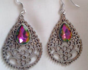 Earrings baroque stained glass