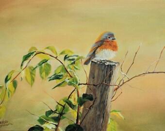 Blue bird scouting for food Original Country Living Landscape Fine Art by Venetka Arsenov