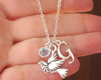 Dove Necklace, Peace Dove Necklace, Silver Dove Necklace, Dove Charm Necklace, Personalized Dove Necklace, Memorial Christian Necklace
