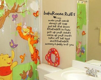 Bon Mommy And Daddly Love You BATHROOM RULES Kids Bathroom Vinyl Wall Lettering  Decal