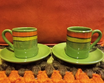 Green and Orange Signed Italian Espresso Set 1963