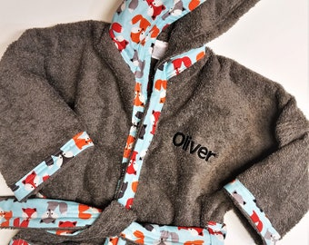 Boys-Bath-Robes-Boy-Robe-Fox-Gray-Bathrobes-Childrens-Spa-Beach-Hooded-Swim-Suit-Terry-Cover-Up-Baby-Toddler-Kids-Birthday-Holiday-Gift