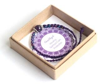 Purple Amethyst Bracelet, Purple Cord Bracelet, Purple Glass Bead Bracelet, Purple Woven Bracelet, Purple Bohemian Bracelet, Purple Gemstone
