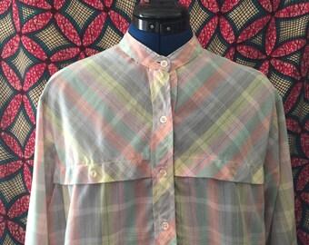 "Vintage ""Vinni""Pastel Mandarin Collar Shirt"