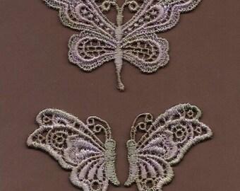 Hand Dyed Venise Lace Appliques Butterflies   Aged Lavender Violet Haze