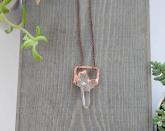 Quartz Crystal Geometric Necklace / Copper Electroformed Pendant