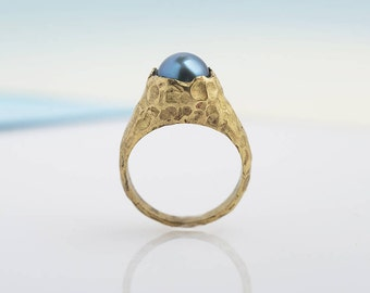 ring VULCANO blue pearl  #01 NEO ANTIQUE collection