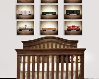 FLASH SALE til MIDNIGHT Train Decor for Boys Room, Vintage Toy Trains set of Nine Photo Prints, Boys Nursery Decor, Rustic Decor Toy Trains,