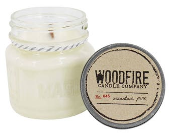 MOUNTAIN PINE - Wood Wick Mason Jar Soy Candle Gift Packaging Winter Holiday Scent