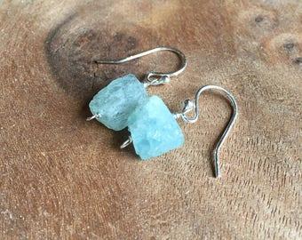 Raw Aquamarine Earrings - Raw Crystal Earrings - Aquamarine - Raw Stone Earrings - March Birthstone Earrings - Aquamarine Jewelry - Earrings