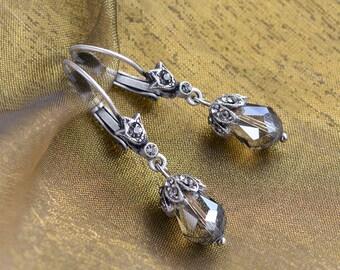Art Deco Earrings, Crystal Earrings, Teardrop Earrings, Leverback Earrings, Faceted Crystal, Small Earrings, Wedding Earrings E988