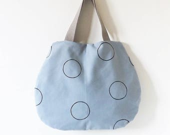 Grey bag with black dots hand painted