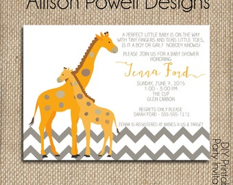 Mom and Baby Giraffe Gender Neutral Baby Shower Invitations ,Orange, Grey, White Chevron, Print your own or printed