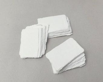 "2"" x 3.1"" Ivory, 150gsm Handmade Deckle Edge Cotton Rag Paper // Deckle Edge Paper, Cotton Paper, Invitation Paper, Calligraphy Paper"