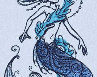 Ocean Blue Siren Mermaid Embroidered Flour Sack Hand/Dish Towel