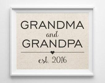 Grandma & Grandpa Established Date   Cotton Print   New Grandparents Gift   New Grandchild Gift   Grandchildren   Gift for Grandma Grandpa
