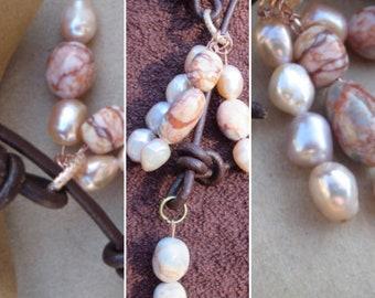 Leather Lariat, Jasper YNecklace, Pearl Necklace, Jasper Pendant Necklace, Edinburgh Jewellery Designer, Handmade Leather Gemstone Lariat