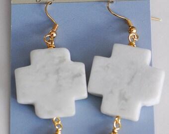 SALE Smooth Stone Cross Earrings, Gold Earrings, Serpentine, Cross Jewelry, Gift for her, Mint Green Earrings, JewelryFineAndDandy, SRAJD