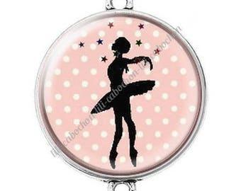 Large silver cabochon connector dancer ballerina 11