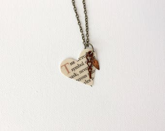 Steampunk Heart Necklace, Steam punk Clock Hands Necklace, Recycled Book Page Pendant, Upcycled Vintage Books Jewelry, Gift for Bookworm