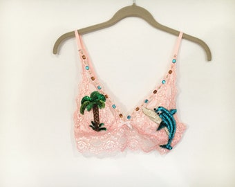 Dolphin Palm Tree Sequined Festival Bralette