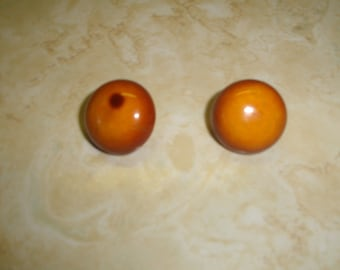 vintage clip on earrings butterscotch lucite circle