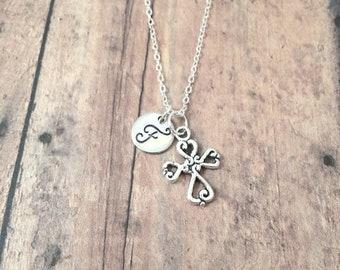 Cross initial necklace - cross jewelry, Christian jewelry, religious jewelry, Christian necklace, first communion gift, silver cross pendant