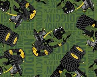 ON SALE!! John Deere - Tractor On Text Fleece Fabric - Grass - sold by the 1/2 yard