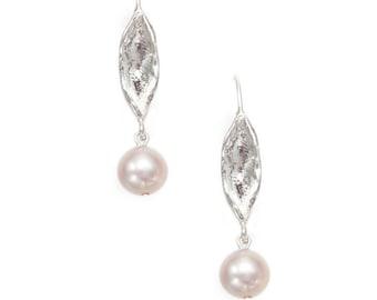 leaf silver earrings with fresh water pearls