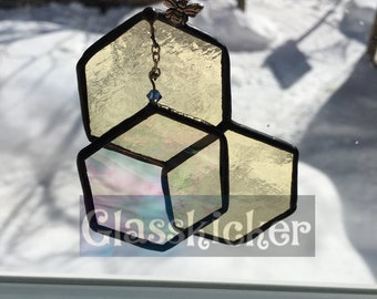 C: Bee and Hexagon 3D illusion suncatcher.