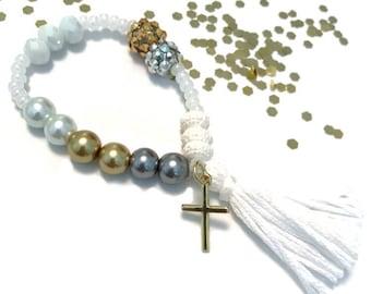 Glitter and Grace Cross Charm Bracelet - cross jewelry, cross charm, gold cross, christian charm, cross charm bracelet, baptism jewelry,