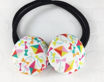 summer hair ties, July 4th hair accessory, button hair ties, Hair tie for women, Girls Ponytail Holder, Girls Hair Tie, little girl gift