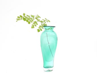 Vintage Blenko Emerald Green Handblown Glass Vase
