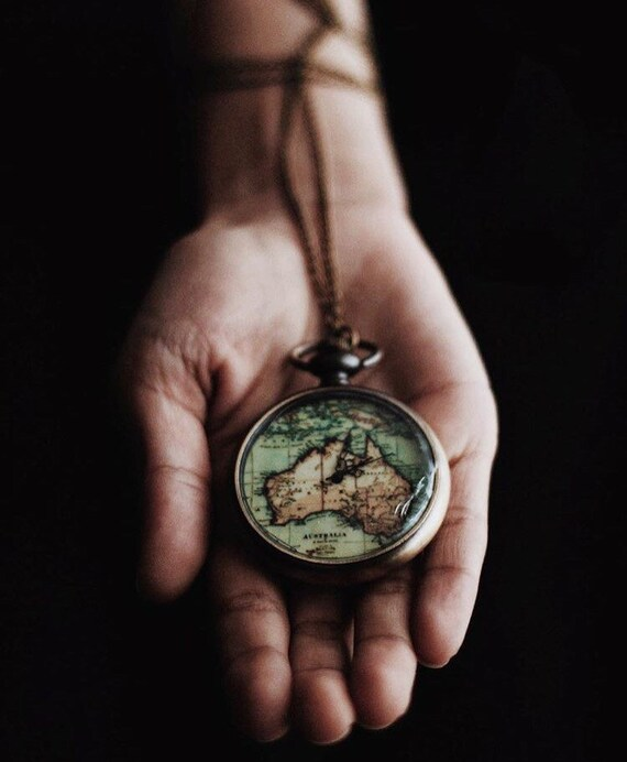 World map pocketwatch necklace wanderlust travel lover world map pocketwatch necklace wanderlust travel lover jewellery womens jewelry tumblr gifts for her australia bohemian long necklace bronze gumiabroncs Image collections