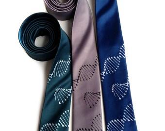 DNA necktie. DNA double helix mens tie. Molecular biologist, researcher gift. Your choice of tie color, silkscreen print color & width.