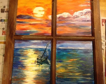 Sunset at Sea Painting on a Rustic Window