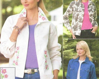 Womens Jean Jackets Casual Jackets Embroidered OOP McCalls Sewing Pattern M4385 Size 10 12 14 16 Bust 32 1/2 to 38 UnCut Sew News Pattern
