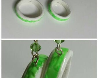 """Green hope"" earrings in polymer clay and pastel"