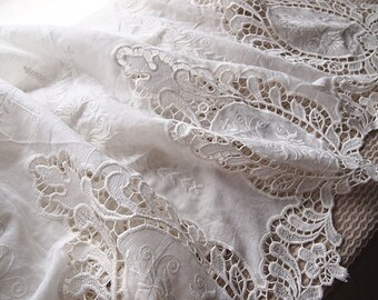 Cotton quilting fabric embroidered scalloped romantic shabby chic