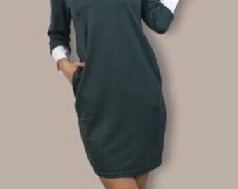 Autumn dark green dress Spring dress Casual wear Office Business woman Dark green dress party