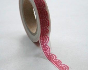 Washi Tape - 15mm - Hot Pink Scalloped Lace Pattern - Deco Paper Tape No. 250
