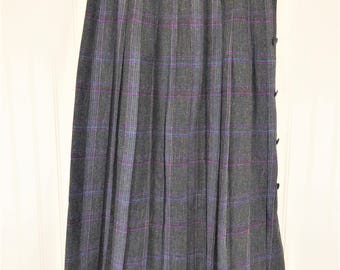 Plaid Wool Maxi Skirt, Vintage Gray/Purple Pleated Full Side Button High Waisted Skirt, Women's 7/8